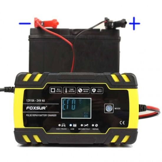 Умно зарядно устройство за акумулатор 12V/24V до 150Ah - Тягов, AGM, GEL, VRLA, мокър, стартов