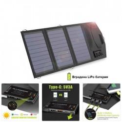 Соларна зарядна система за телефон 15Wp с вградена LiPo батерия 6000mAh
