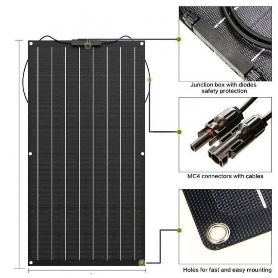 Огъваем монокристален соларен панел 100Wp 12V ETFE